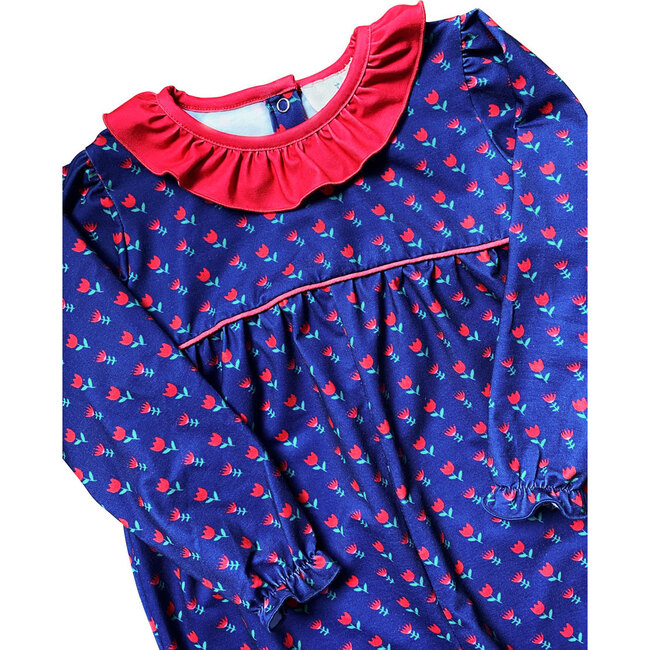 Red Flowers Knit Romper, Navy