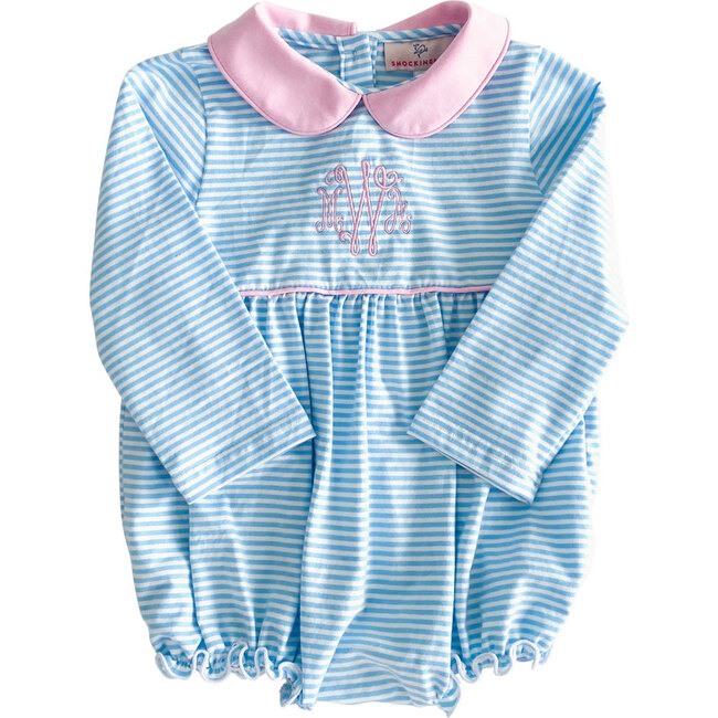 Striped Knit Bubble with Pink Collar, Sky Blue