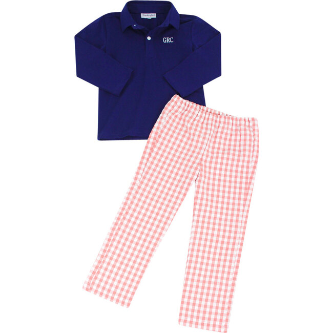 Check Pants With Navy Knit Long Sleeved Polo, Coral