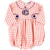 Check Bubble with Navy Trim, Coral - Rompers - 1 - thumbnail
