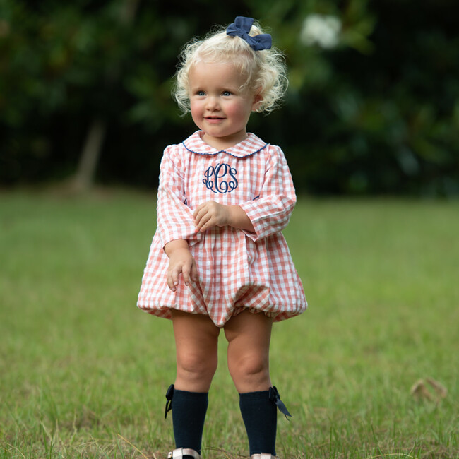 Check Bubble with Navy Trim, Coral