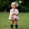 Check Bubble with Navy Trim, Coral - Rompers - 2