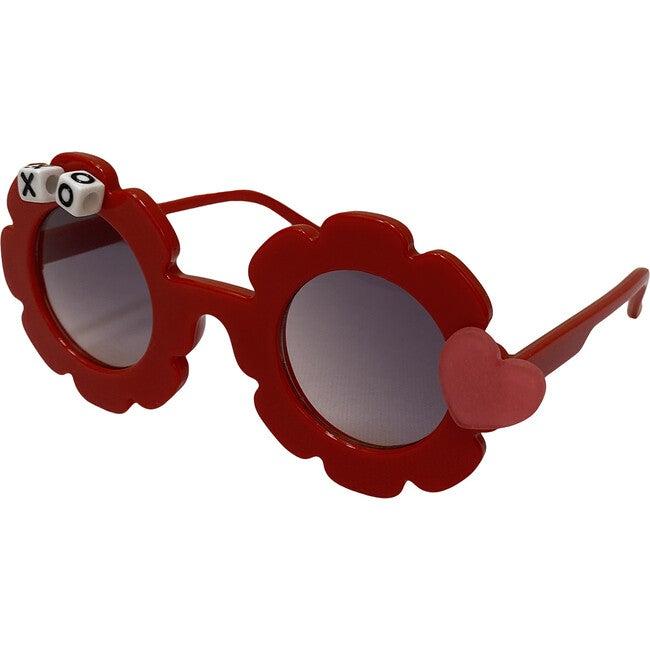 Matte Heart Sunglasses, Red