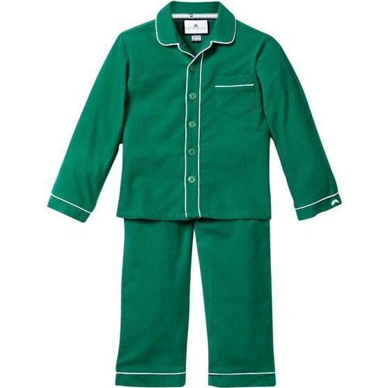 Forest Green Flannel Pajamas with Double Piping - Pajamas - 1