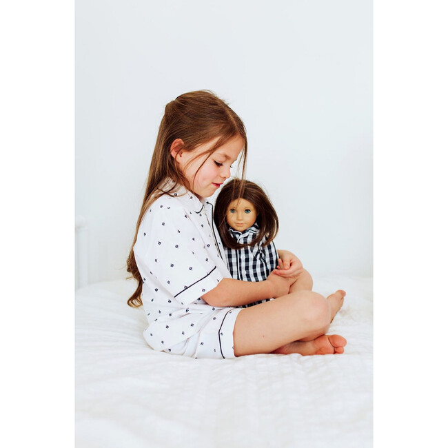 Navy Gingham Doll Pajamas