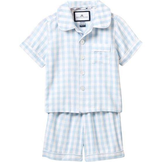 Light Blue Gingham Short Set