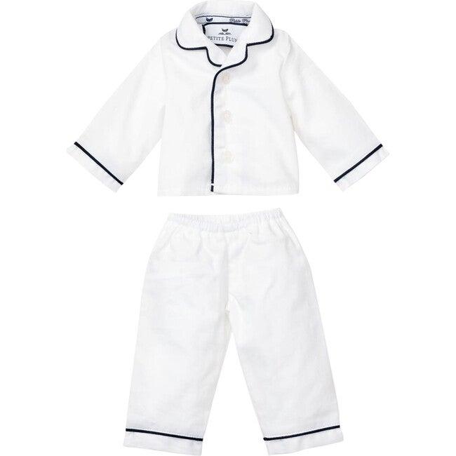 White Doll Pajamas with Navy Piping