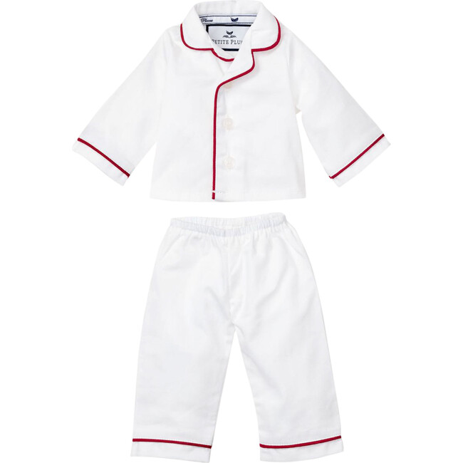 White Doll Pajamas with Red Piping