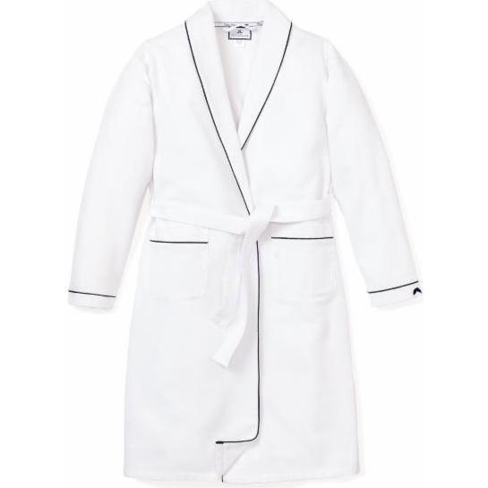 Men's Flannel Robe, White & Navy Piping