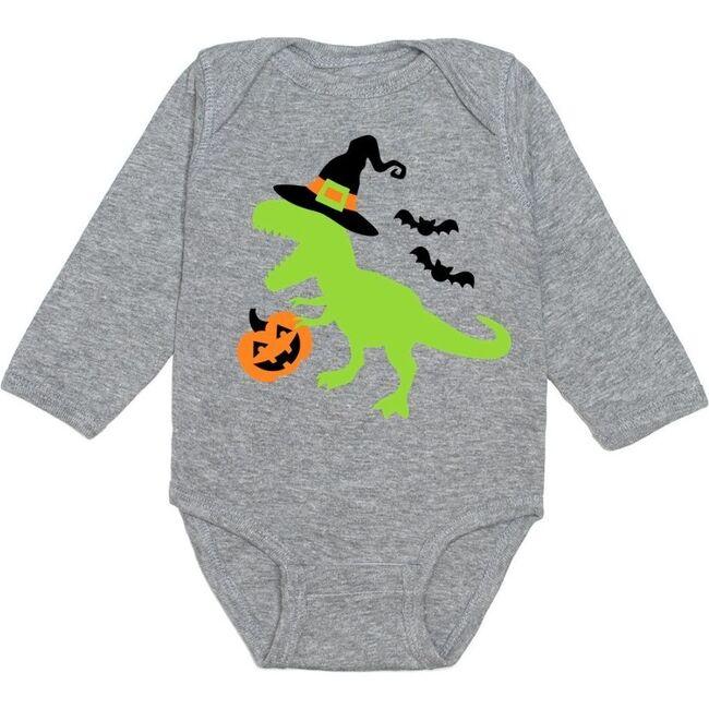 Spookysaurus L/S Bodysuit, Gray