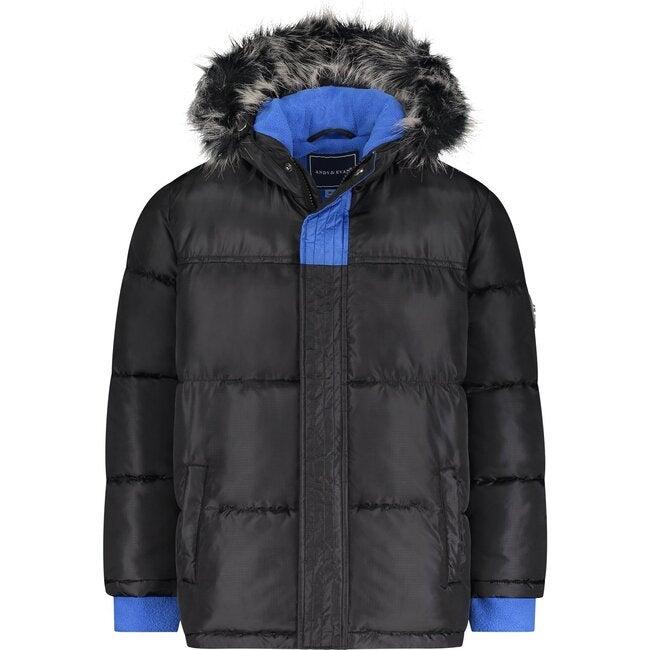 Nordic Coat with Detachable Faux Hood, Black
