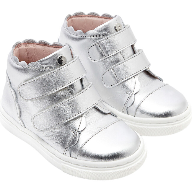 Baby High Top Tennis Shoes, Silver
