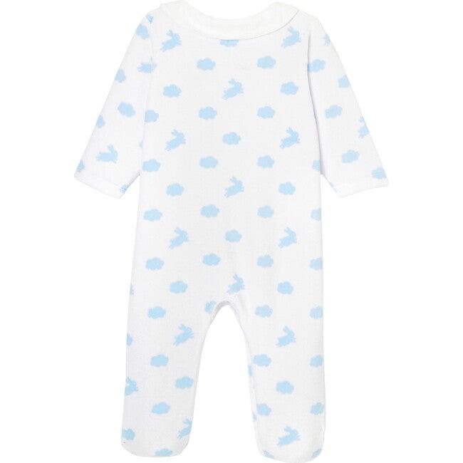 Baby Loop Velvet Footed Pajamas, White & Blue