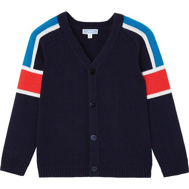Color Block Cardigan, Navy Blue - Cardigans - 1