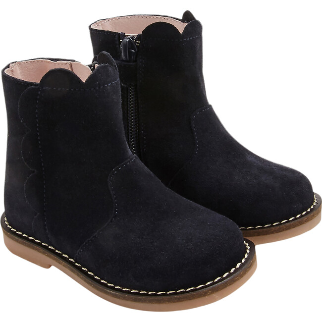 Baby Split Leather Boots, Navy Blue
