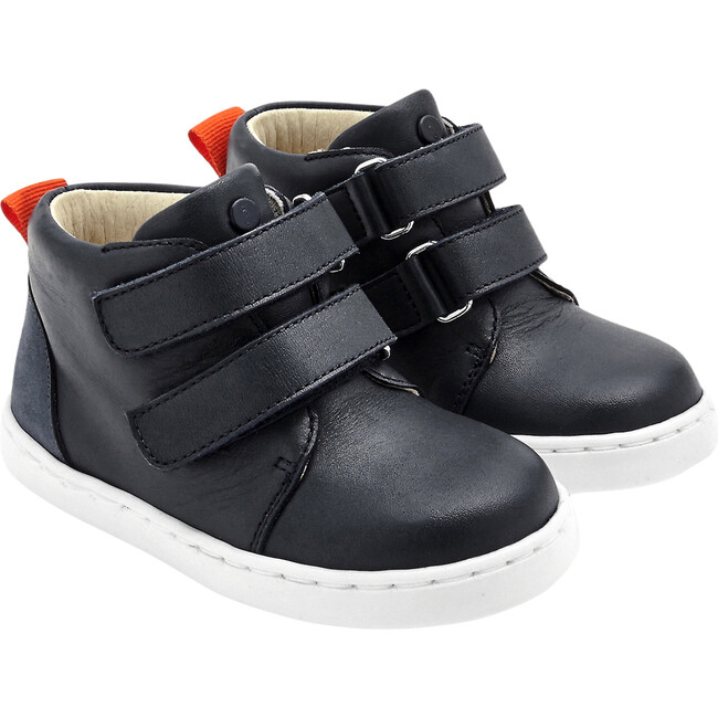 Baby Leather High Top Tennis Shoes, Navy Blue