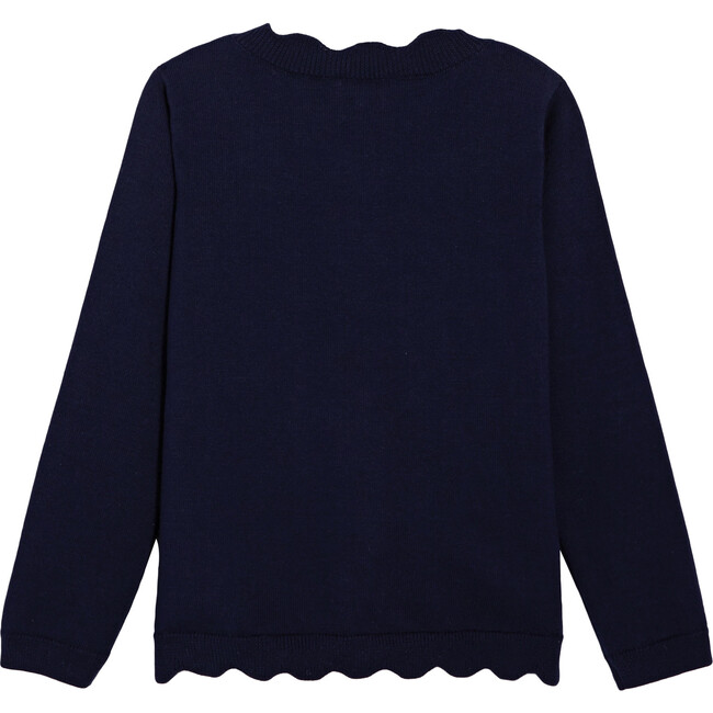 Scalloped Cardigan, Navy Blue