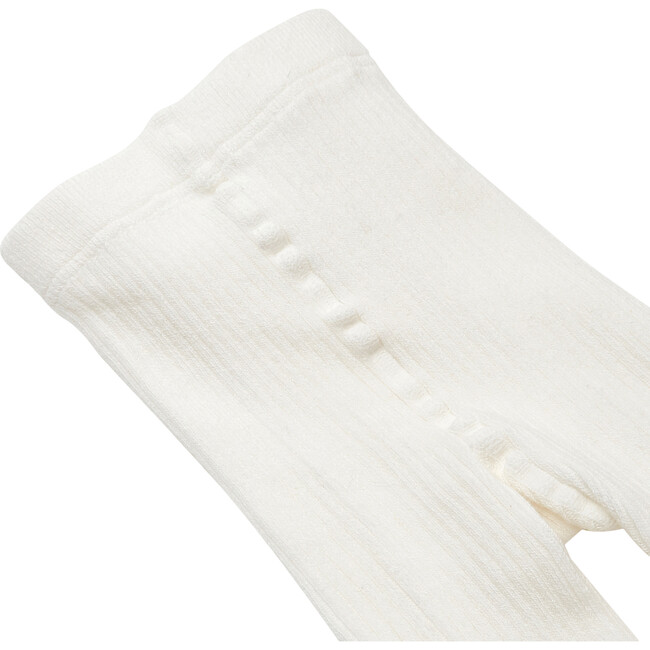 Toddler Ribbed Tights, White