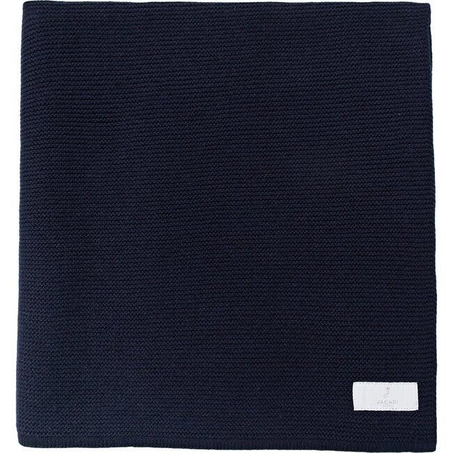 Garter Stitch Knit Blanket, Navy Blue