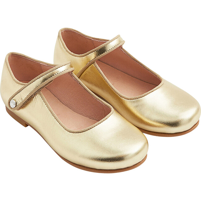 Glazed Leather Mary Janes, Gold