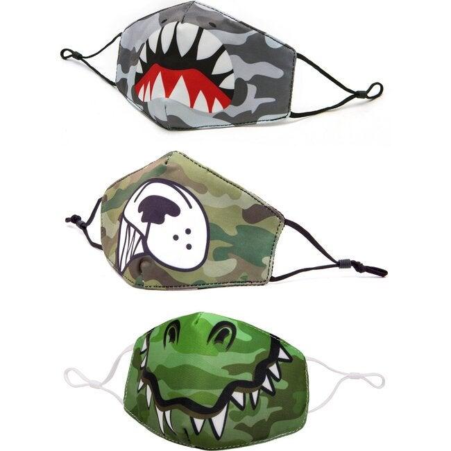 Camo, Shark, Dino, and Pup 3 Pack Face Mask Set