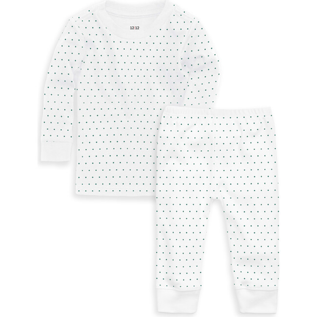 Organic Long Sleeve Pajama Set, Emerald Pin Dot