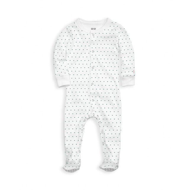 Organic Footed Pajama, Emerald Pin Dot