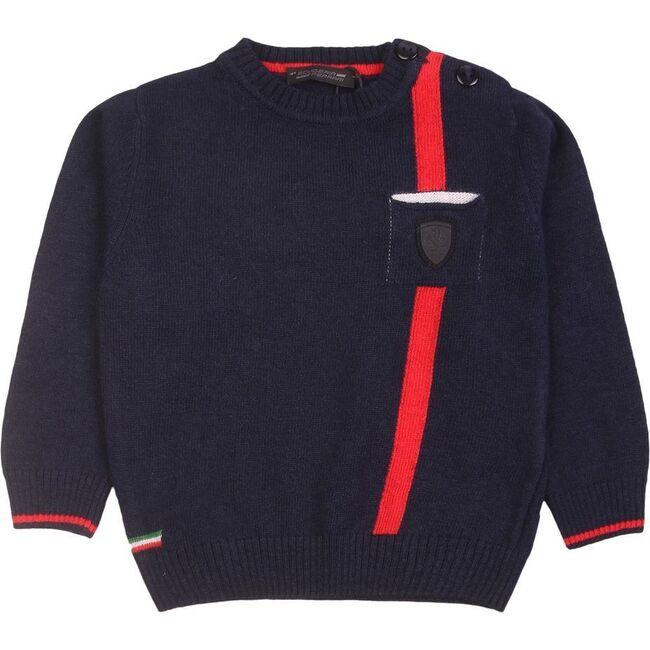 Stripe Logo Sweater, Navy