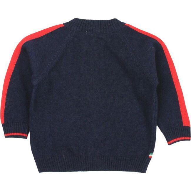 Striped Knit Cardigan, Navy