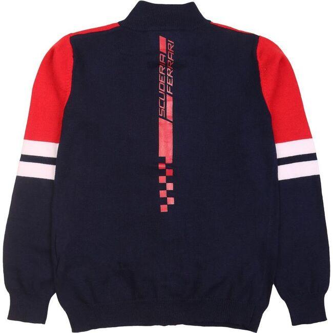 Colorblock Zip Cardigan, Navy
