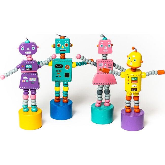 Retro Robots Push Puppets, Set of 4 - Woodens - 1