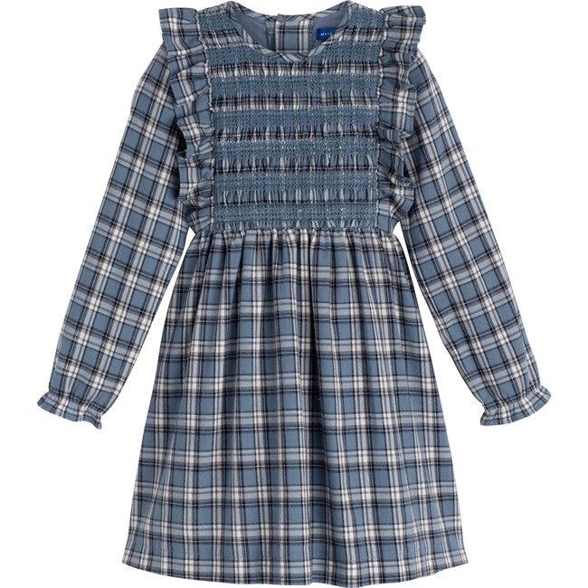 Alexandra Smocked Dress, Blue Check - Dresses - 1