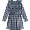 Alexandra Smocked Dress, Blue Check - Dresses - 1 - thumbnail