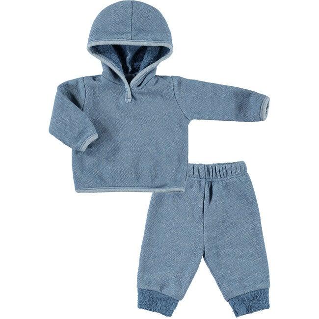 Textured Speckeled Fleece Pullover Hoodie & Legging Set, Blue