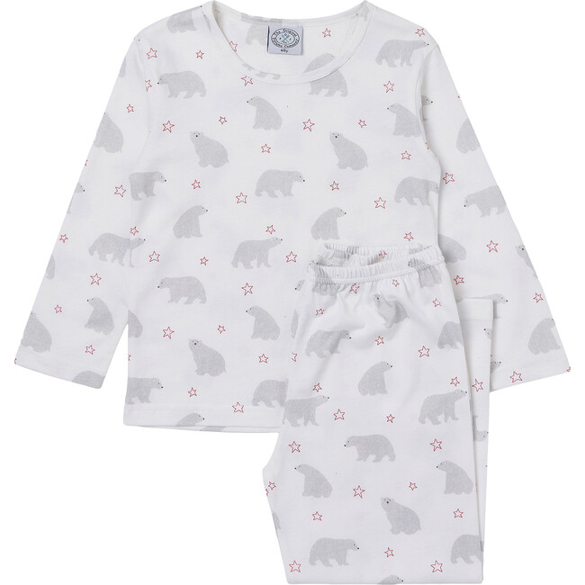 Polar Bear Jersey Pajama, White