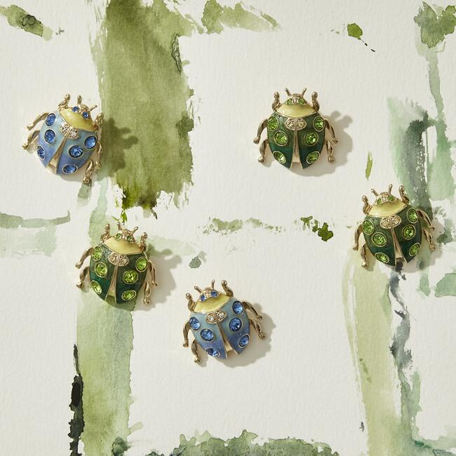 Enamel Ladybug Wreath Clip Set