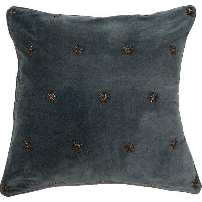 Embroidered Star Pillow, Dark Grey Cotton Velvet