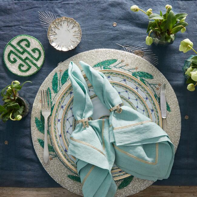 Embroidered Feather Table Runner