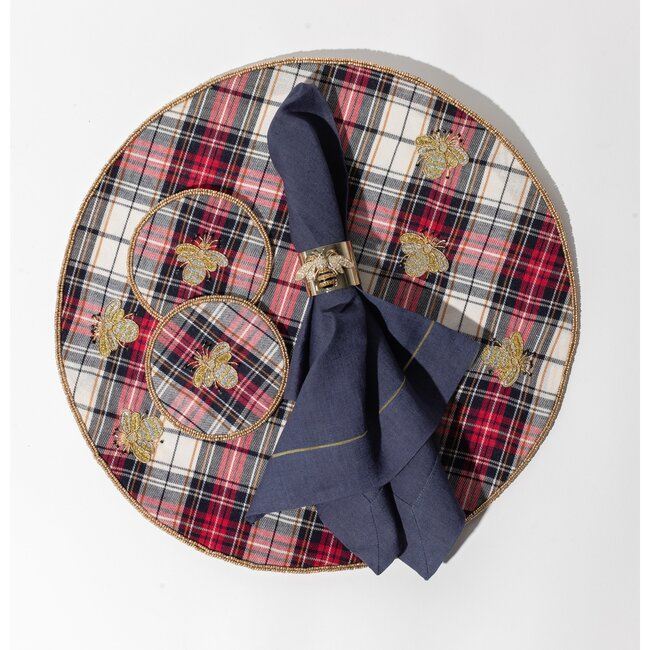 Embroidered Bee Plaid Coasters