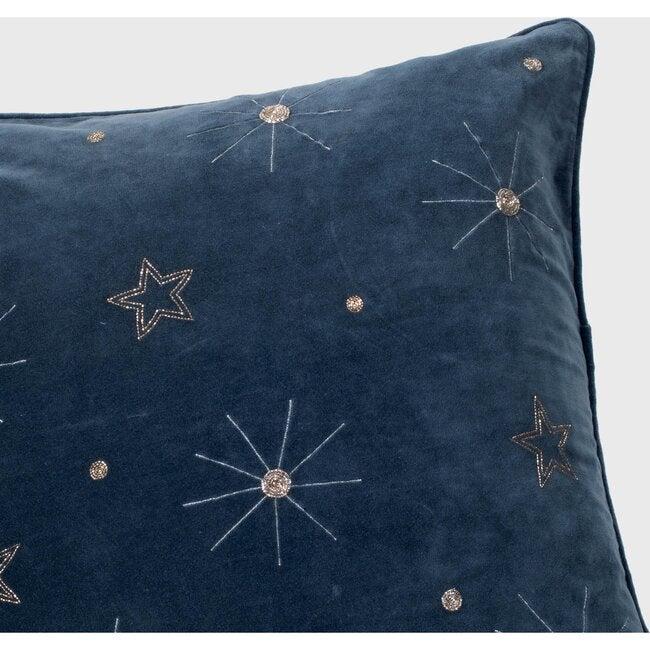 Embroidered Celestial Pillow, Dark Grey Cotton Velvet