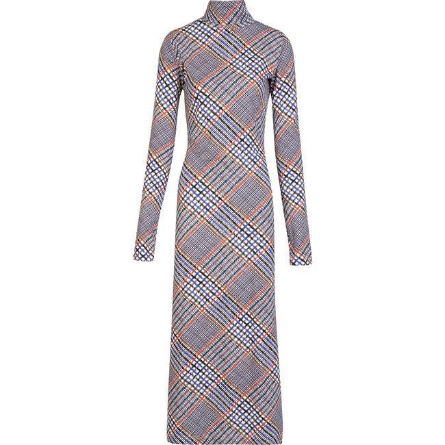 Women's Letta Dress, Hand Drawn Plaid Ecru Multi