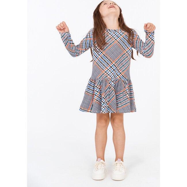 Mini Mari Dress, Hand Drawn Plaid Ecru Multi