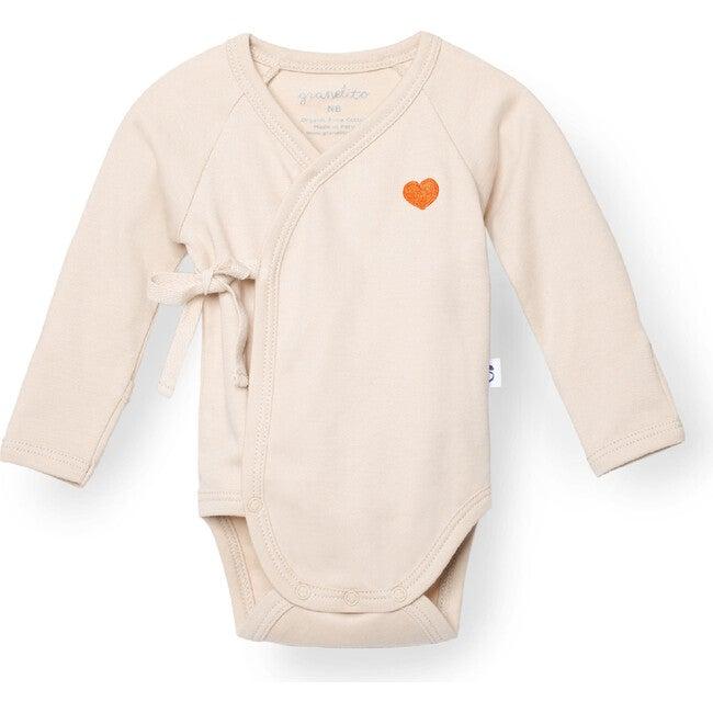 Baby Kimono Body with Heart Embroidery, Sand