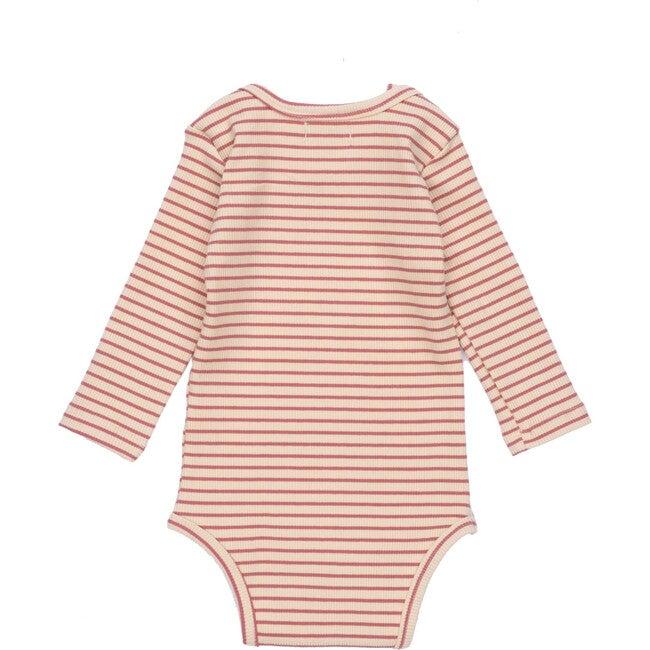Reagan Long Sleeve Bodysuit, Pink & Natural Stripe