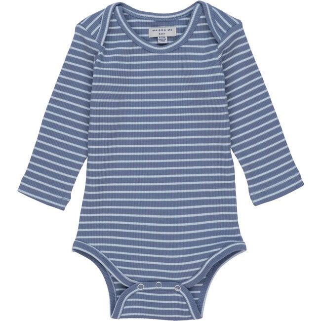 Reagan Long Sleeve Bodysuit, Blue & Light Blue Stripe
