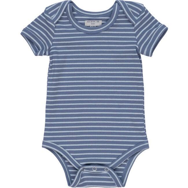Perry Short Sleeve Bodysuit, Blue & Light Blue Stripe