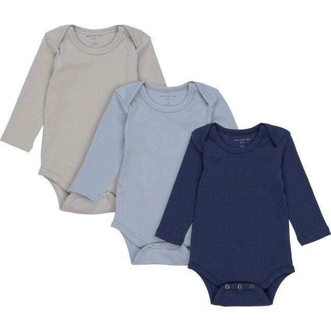 Reagan Long Sleeve Bodysuit Trio, Blue Multi
