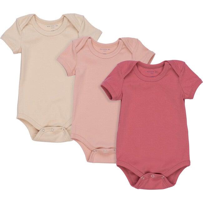 Perry Short Sleeve Bodysuit Trio, Pink Multi