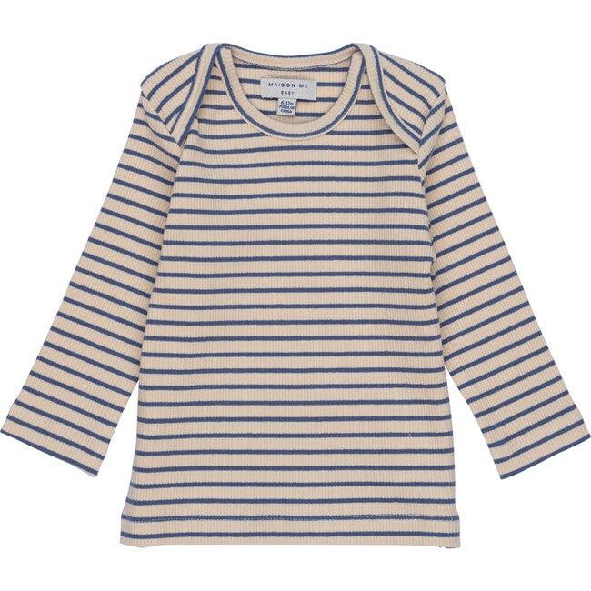 Andie Long Sleeve Tee, Blue & Natural Stripe