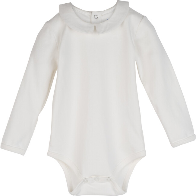 Syd Long Sleeve Pointed Collar Bodysuit, White with White Collar